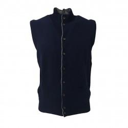 DELLA CIANA vest man blue tampon gray profiles 80% wool 20% cashmere