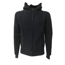 PANICALE cardigan man zip and hood faded blue 100% wool MADE IN ITALY