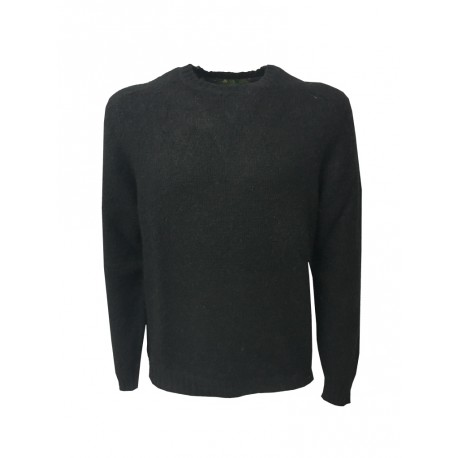 IRISH CRONE knitted men's crew neck, black color, 50% wool and 18% acrylic 16% polyamide 16% mohair MADE IN ITALY