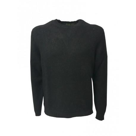 IRISH CRONE maglia uomo girocollo nero 50% lana 18% acrilico 16% poliammide 16% mohair MADE IN ITALY