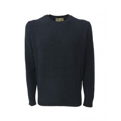 IRISH CRONE man blue sweater 100% wool MADE IN ITALY