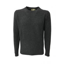 IRISH CRONE maglia uomo grigio mélange 100% lana MADE IN ITALY