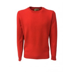 IRISH CRONE man red sweater 100% wool MADE IN ITALY
