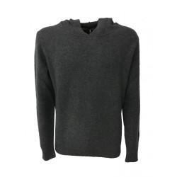 IRISH CRONE maglia uomo con cappuccio grigio 100% lana MADE IN ITALY
