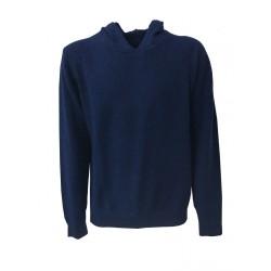 IRISH CRONE maglia uomo con cappuccio blu chiaro 100% lana MADE IN ITALY