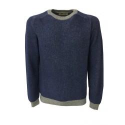 IRISH CRONE maglia lana uomo girocollo denim/grigio MADE IN ITALY