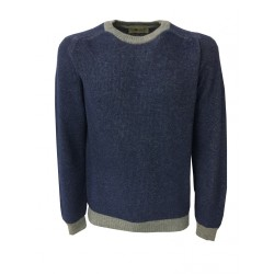 IRISH CRONE man wool denim/gray sweater MADE IN ITALY