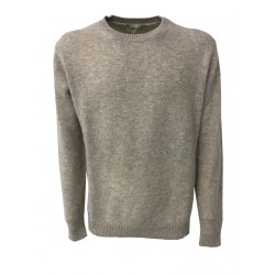 IRISH CRONE man dove-gray sweater 100% wool MADE IN ITALY