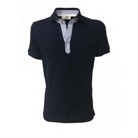 DELLA CIANA blue man polo shirt with contrasting details in white / light blue stripes mod 81/50173 100% cotton
