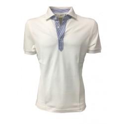 DELLA CIANA polo uomo bianca con dettagli in contrasto righe bianco/azzurro mod 81/50173 100% cotone