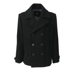 LEE giaccone uomo nero doppiopetto mod L89OAV01 PREMIUM WOOL PEACOAT 75% lana