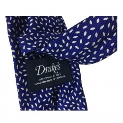 DRAKE'S cravatta uomo fantasia bluette foderata cm 7 100% seta MADE IN ENGLAND