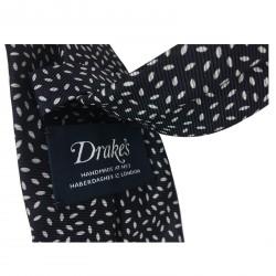 DRAKE'S cravatta uomo fantasia blu foderata cm 7 100% seta MADE IN ENGLAND