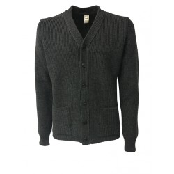 GRP cardigan man gray with pockets 100% wool MADE IN ITALY