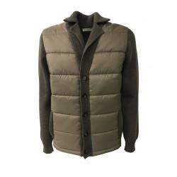PANICALE giacca tortora uomo maglia 100% lana + tessuto imbottito MADE IN ITALY