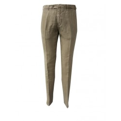 LUIGI BIANCHI beige trousers 100% pure linen slim fit