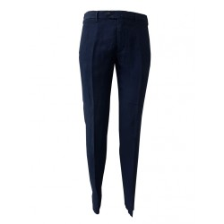 LUIGI BIANCHI blue trousers 100% pure linen slim fit