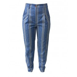 ATTIC AND BARN trousers woman striped blue / ecru mod ANDRES 85% cotton 15% polyamide MADE IN ITALY