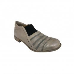1725.a scarpa donna begie inserto nero mod QUADRO3 100% pelle MADE IN ITALY
