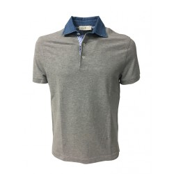 DELLA CIANA man polo half sleeve gray with jeans neck 100% cotton MADE IN ITALY