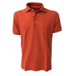 DELLA CIANA orange men's polo half sleeve 100% cotton slim fit