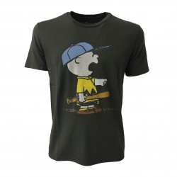 VINTAGE 55 PEANUTS man t-shirt CHARLIE BROWN faded black 100% cotton MADE IN ITALY