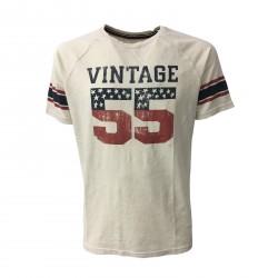 VINTAGE 55 t-shirt uomo ecru mezza manica mod FOOTBALL 100% cotone