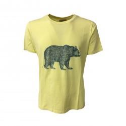 VINTAGE 55 man t-shirt yellow mod BEAR 100% cotton