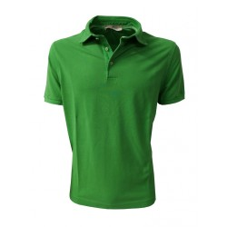 PANICALE man half sleeve polo shirt with side slits green 100% cotton