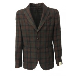 L.B.M 1911 brown/ blue / dark red checked jacket man 64% cotton 29% linen