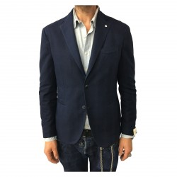 L.B.M 1911 men's blue jacket unlined 78% cotton 18% linen 4% polyamide mod 2875