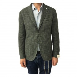 L.B.M 1911 men's green jacket unlined prince of Galles 93% cotton 7% silk