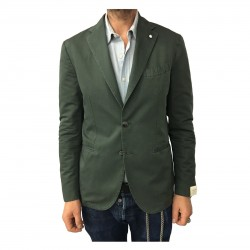 L.B.M 1911 men's green jacket unlined 79% cotton 21% linen mod 2857 slim fit
