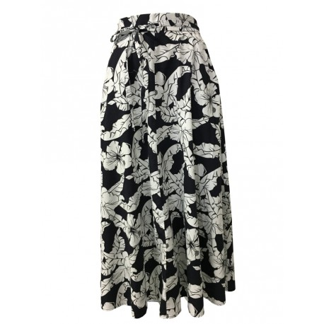 BKØ MADSON line skirt woman fantasy palm black / white DD18110 TIRRENO MADE IN ITALY