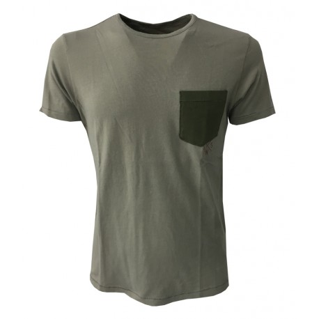 VINTAGE 55 t-shirt half sleeve crew neck military with green pocket 100% cotton