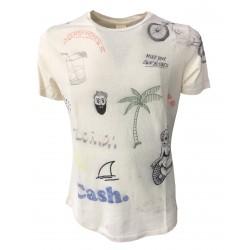 VINTAGE 55 t-shirt uomo avorio / multicolor 60% cotone 40% lino