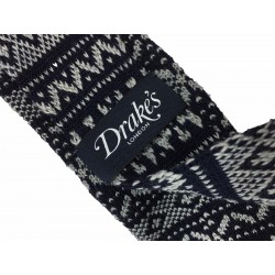 DRAKE'S LONDON tie man blue/gray jacquard 100% wool MADE EN ENGLAND
