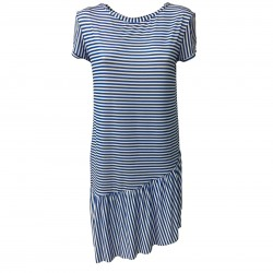 BYE BYE MARY by JUSTMINE woman dress light blue/white lines mod LEMONADE YARA561 MADE IN ITALY