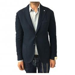 L.B.M 1911 giacca uomo sfoderata blu Principe di Galles 93% cotone 7% seta 2857