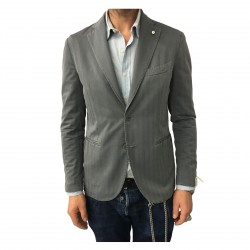 L.B.M 1911 men's jacket unlined gray slim 87% cotton 12% polyamide slim fit 2875