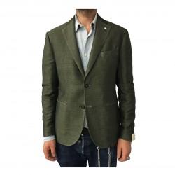 L.B.M 1911 men's green jacket unlined pied de poule 60% linen 40% cotton mod 2875
