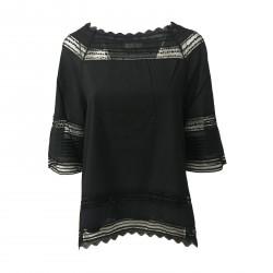 ALPHA STUDIO blusa donna nero cotone e pizzo manica 3/4 mod AD-8480C 100% cotone