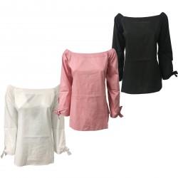 ALPHA STUDIO camicia donna con elastico mod AD-8451C 98% cotone 2% elastan