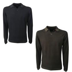 ALPHA STUDIO polo mod AU-4012BS 100% wool slim fit