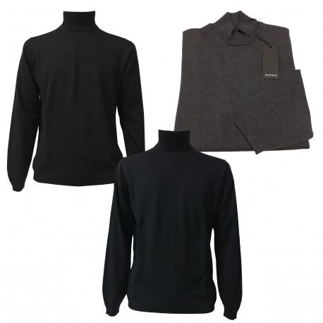 ALPHA STUDIO black knit high collar men wool slim fit 100%