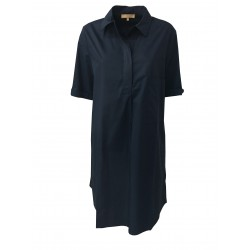 HUMILITY 1949 half sleeve woman dress with blue side pockets HA6024 100% cotton MADE IN ITALY