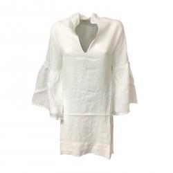 ALPHA STUDIO blusa lunga donna ecru con spacco laterale mod AD-8502LS 100% lino