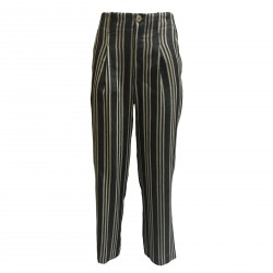 ATTIC AND BARN trousers woman linen striped gray/ecru mod MORESCO MADE IN ITALY