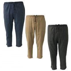 BKØ linea MADSON pantalone uomo lino con elastico mod DU18065 MADE IN ITALY