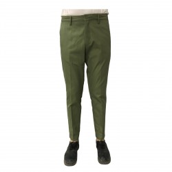 TISSUE' men's trousers green with zip mod TPM00501 100% cotton MADE IN ITALY